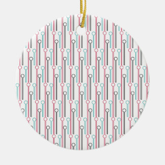 Retro Pastel Pattern Swizzle Sticks Ceramic Ornament