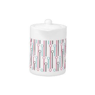 Retro Pastel Pattern Swizzle Sticks Teapot