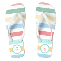 Retro Pastel Stripes with Your Monogram Flip Flops