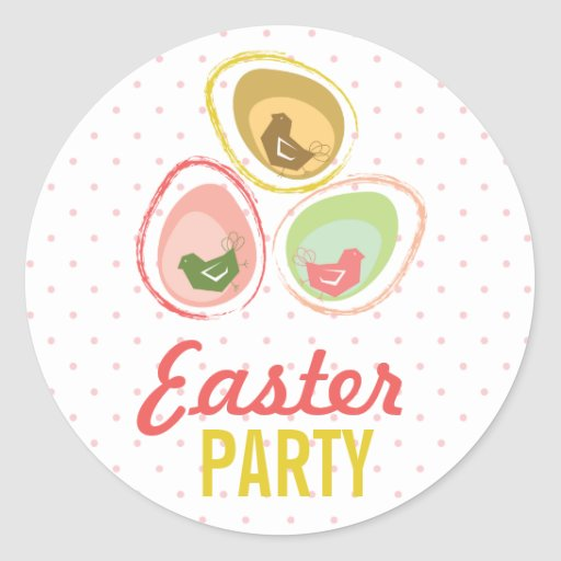 Retro Pastels Egg Chicks Fun Easter Party Gift Tag Round Sticker