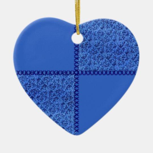 Retro Patchwork Blue Floral Heart Ornament