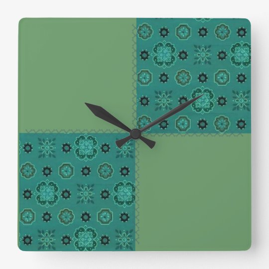 Retro Patchwork Teal Sage Green Wall Clock Zazzle
