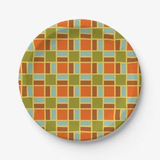 Retro Patio Tiles Paper Plate