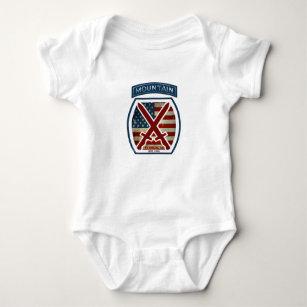 Retro Patriotic 10th Mountain Division Baby Bodysuit