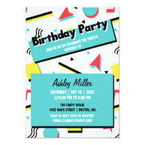 Retro Pattern 90s Themed Birthday Party Invitation