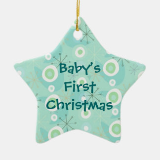 Retro Pattern Baby's First Christmas Ornament