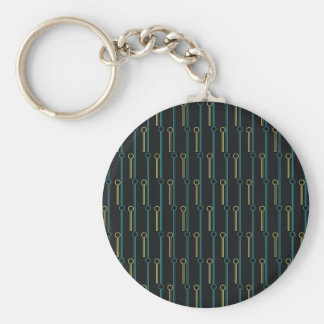 Retro Pattern Black Gold Swizzle Sticks Basic Round Button Keychain