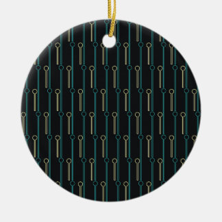 Retro Pattern Black Gold Swizzle Sticks Ceramic Ornament