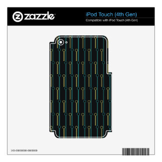 Retro Pattern Black Gold Swizzle Sticks iPod Touch 4G Decal