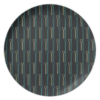 Retro Pattern Black Gold Swizzle Sticks Plate