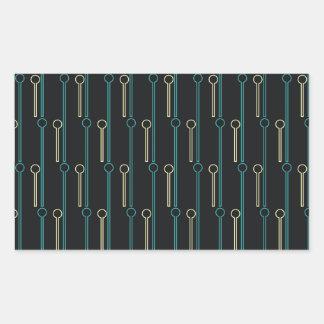 Retro Pattern Black Gold Swizzle Sticks Rectangular Sticker