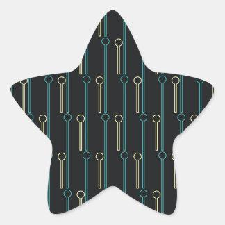 Retro Pattern Black Gold Swizzle Sticks Star Sticker