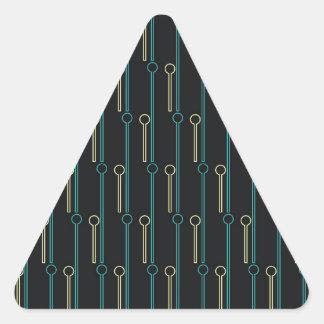 Retro Pattern Black Gold Swizzle Sticks Triangle Sticker