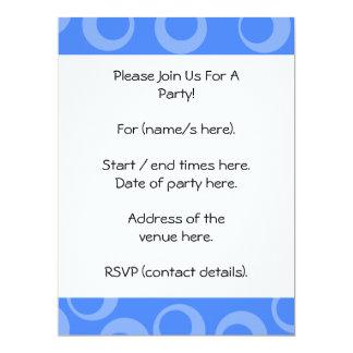 """Retro pattern. Circle design in blue. 6.5"""" X 8.75"""" Invitation Card"""