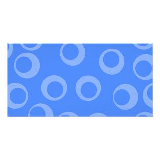 Retro pattern. Circle design in blue. Customized Photo Card