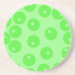 Retro pattern. Circle design in green. Beverage Coasters