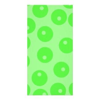 Retro pattern. Circle design in green. Photo Greeting Card