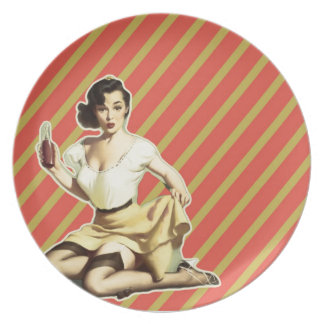 Retro pattern cute vintage pin up girl dinner plate