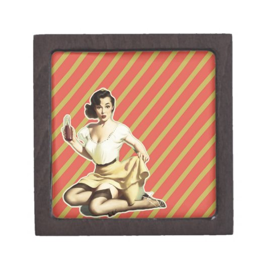 Retro pattern cute vintage pin up girl gift box