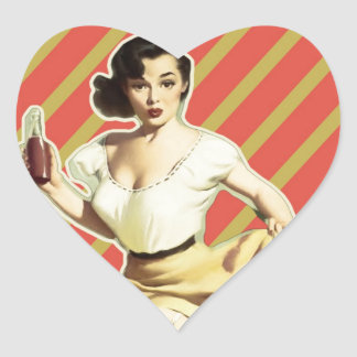 Retro pattern cute vintage pin up girl heart sticker
