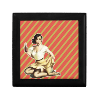 Retro pattern cute vintage pin up girl keepsake box