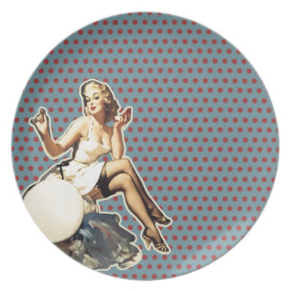 Retro pattern cute vintage pin up girl melamine plate