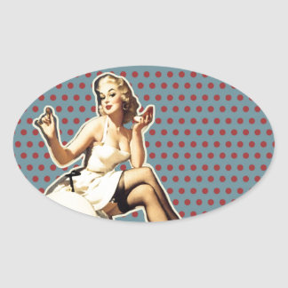 Retro pattern cute vintage pin up girl oval sticker