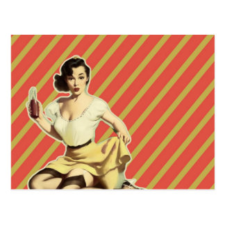 Retro pattern cute vintage pin up girl postcard