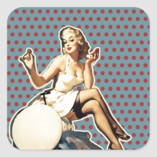 Retro pattern cute vintage pin up girl square sticker
