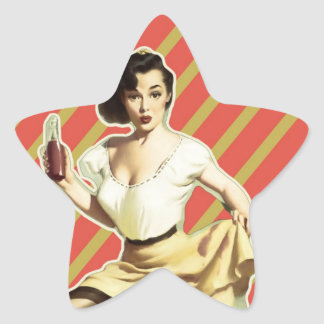 Retro pattern cute vintage pin up girl star sticker