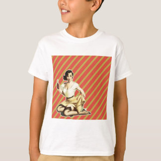 Retro pattern cute vintage pin up girl T-Shirt