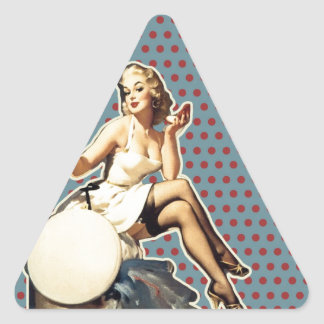 Retro pattern cute vintage pin up girl triangle sticker