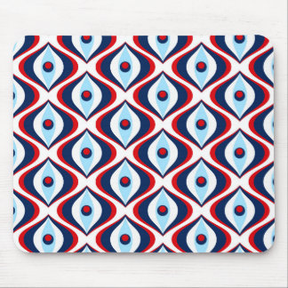Retro pattern dark blue and Red design mouse pad
