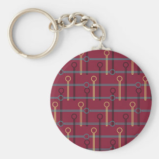 Retro Pattern Gold Black Swizzle Sticks on Red Basic Round Button Keychain