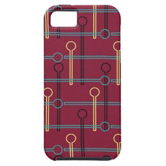 Retro Pattern Gold Black Swizzle Sticks on Red iPhone SE/5/5s Case