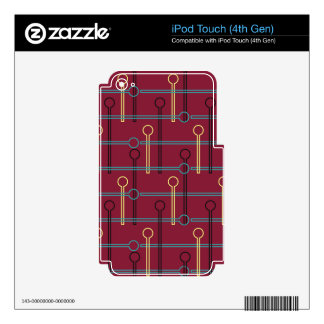 Retro Pattern Gold Black Swizzle Sticks on Red iPod Touch 4G Skins