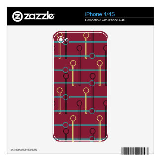 Retro Pattern Gold Black Swizzle Sticks on Red Skin For The iPhone 4