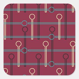Retro Pattern Gold Black Swizzle Sticks on Red Square Sticker