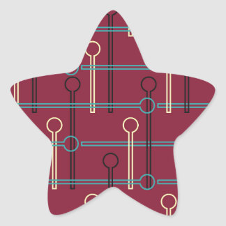 Retro Pattern Gold Black Swizzle Sticks on Red Star Sticker