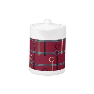 Retro Pattern Gold Black Swizzle Sticks on Red Teapot