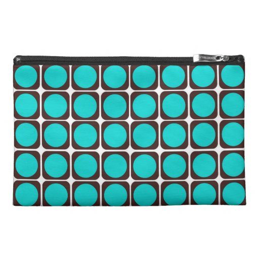 Retro Pattern in Brown & Teal Travel Accessory Bag
