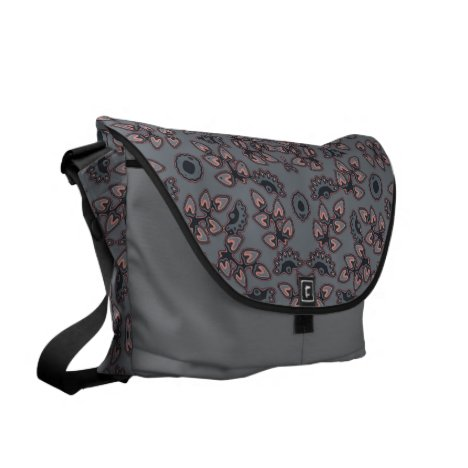 Retro pattern in gray/pink messenger bag
