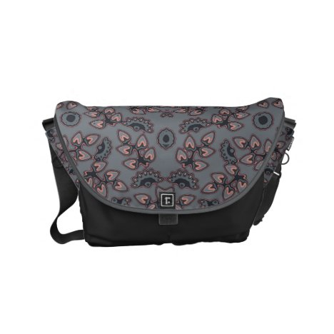 Retro pattern in gray/pink small messenger bag