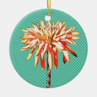 retro pattern in vintage colours with flower Double-Sided ceramic round christmas ornament