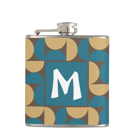 Retro Pattern Monogram Mid Century Abstract Flask
