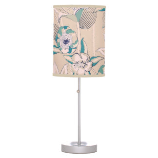 retro pattern of vintage flowers table lamp