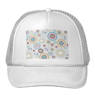 Retro-Pattern- pastel flower circle patterns fun B Mesh Hats