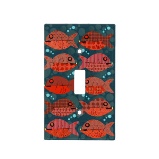 Retro Pattern Red Fish Switch Plate Covers