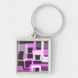 Retro Pattern Silver-Colored Square Keychain