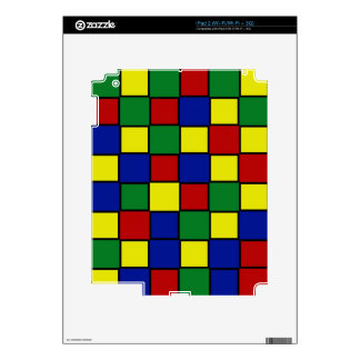 Retro Pattern Squares in Red Blue Yellow Green Skin For iPad 2